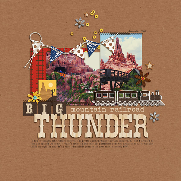 "Disney Big Thunder Mountain digital scrapbook page by Kat featuring ""Project Mouse: Frontier"" by Britt-ish Designs and Sahlin Studio"