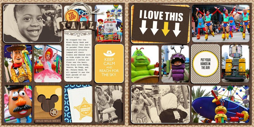 "Disney parade digital 2-page Project Life spread by TiffanyTillman featuring ""Project Mouse: Frontier"" by Britt-ish Designs and Sahlin Studio"