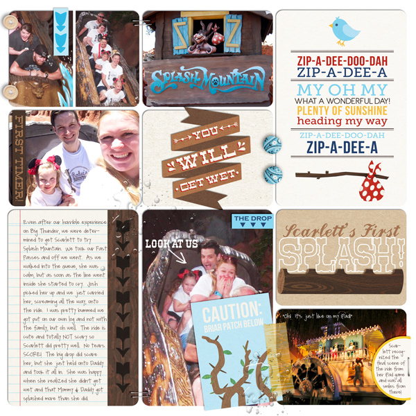 "Disney Splash Mountain Digital Project Life page by britt featuring ""Project Mouse: Frontier"" by Britt-ish Designs and Sahlin Studio"