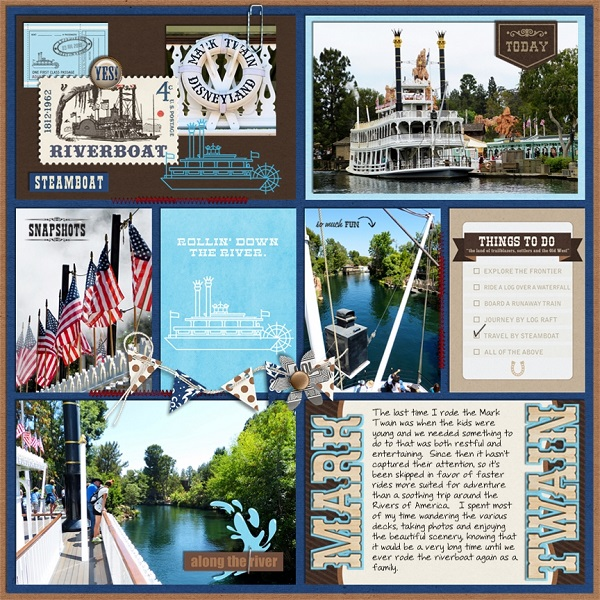"Mark Twain Disney Frontierland Steamboat Ride digital Project Life page by jan featuring ""Project Mouse: Frontier"" by Britt-ish Designs and Sahlin Studio"