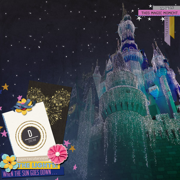After Dark Disney Castle digital scrapbook page by PuSticks featuring Project Mouse Alphabet Cards by Britt-ish Designs and Sahlin Studio.