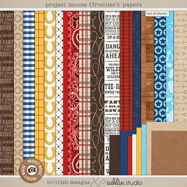 Project Mouse (Frontier): Papers by Britt-ish Designs and Sahlin Studio - Perfect for scrapbooking / project life your magical memories from Frontierland at Disney