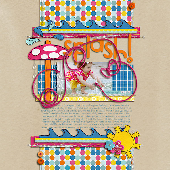 Pool digital scrapbooking layout featuring waterpark by sahlin studio and jacque larsen