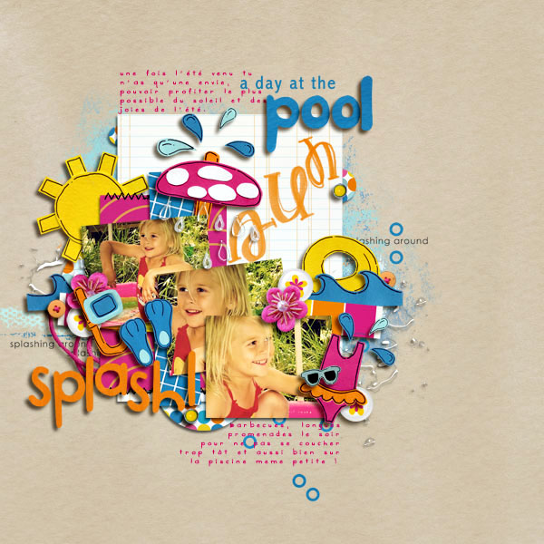 Pool Waterpark digital scrapbooking layout created by arumrose featuring waterpark by sahlin studio and jacque larsen