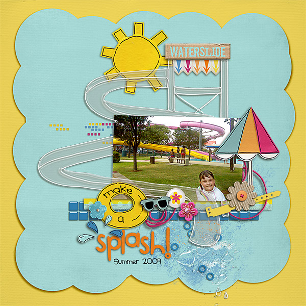 Pool Waterpark digital scrapbooking layout created by kimbytx featuring waterpark by sahlin studio and jacque larsen