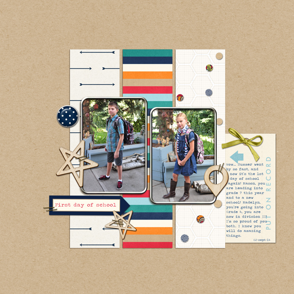 First Day of school digital scrapbook layout by ctmm4 featuring Documentary by Sahlin Studio