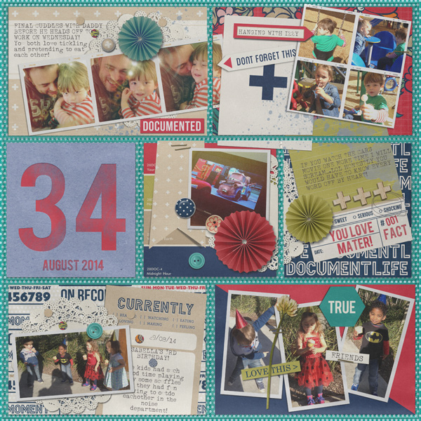 August 2014 Digital Scrapbook layout by justagirl featuring Documentary by Sahlin Studio