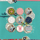 Hello Happiness digital scrapbook layout by kv2av featuring Documentary by Sahlin Studio