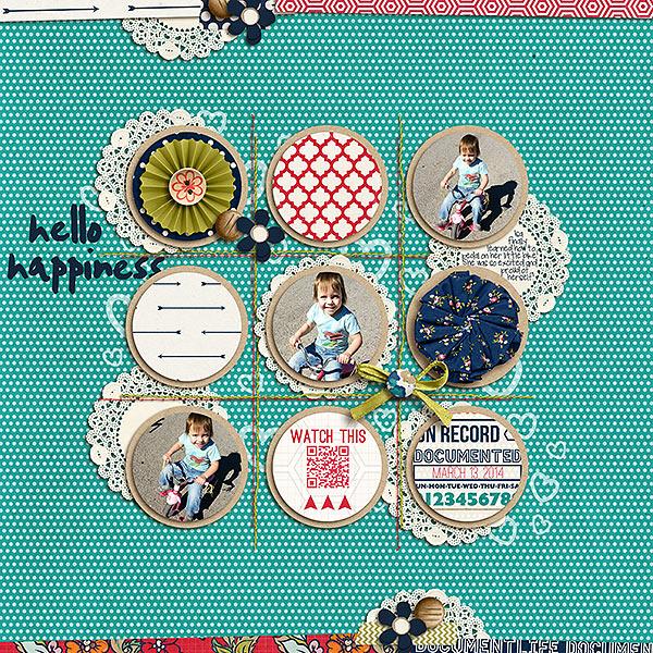 Hello Happiness digital scrapbook layout by kv2av featuring Documentary by Sahlin Studio