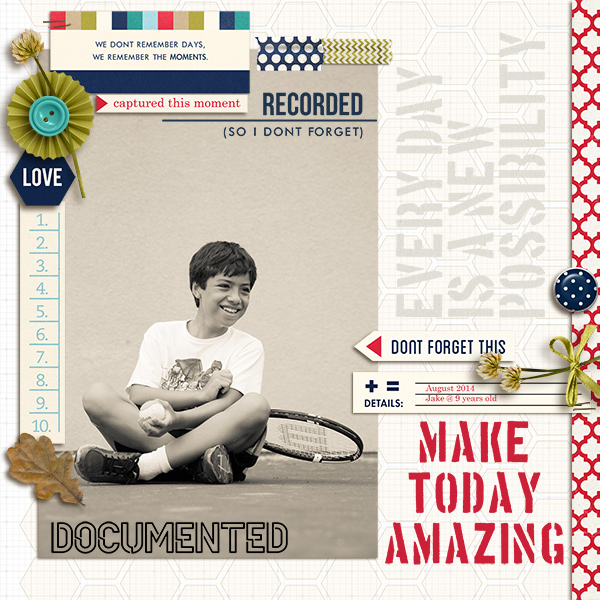 Documented digital scrapbook layout by mikinenn featuring Documentary by Sahlin Studio