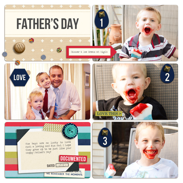 Father's Day pocket scrapbooking layout by plumdumpling featuring Documentary by Sahlin Studio