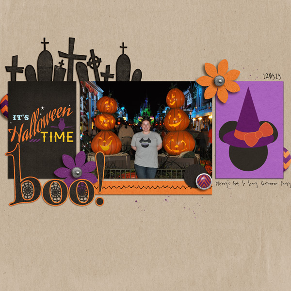 digital scrapbook layout created by krscraps featuring Project Mouse (Halloween)