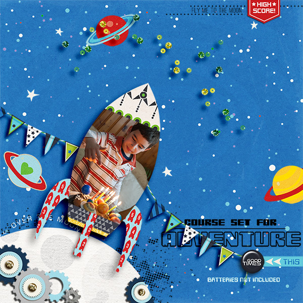 Rocket Birthday digital scrapbook layout by Damayanti featuring Project Mouse (Tomorrow) by Britt-ish Designs and Sahlin Studio