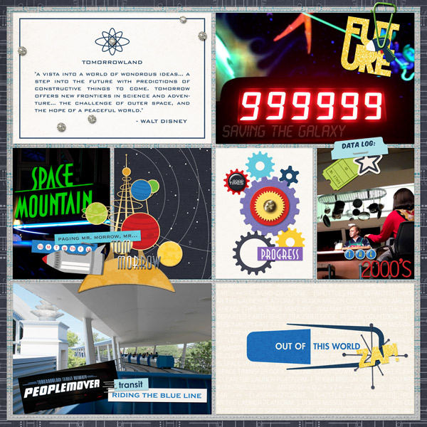 Disney Tomorrowland People Mover TTA Soace Mountain Buzz Lightyear digital Project Life by PuSticks featuring Project Mouse (Tomorrow) by Britt-ish Designs and Sahlin Studio
