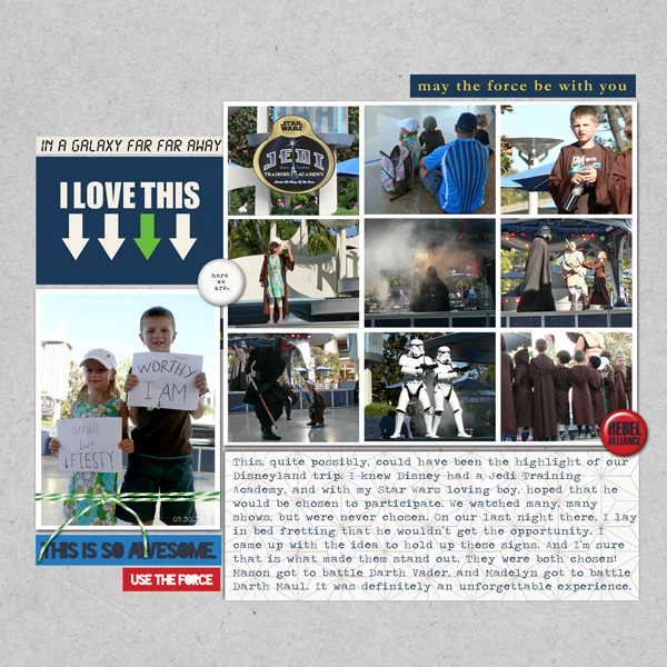 Disneyland Jedi Training Academy digital scrapbook layout by ctmm4 featuring Project Mouse (Tomorrow) by Britt-ish Designs and Sahlin Studio