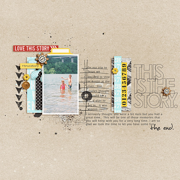 River memories in Texas digital scrapbook layout by 3littleks featuring We Are Storytellers Word Art by Sahlin Studio