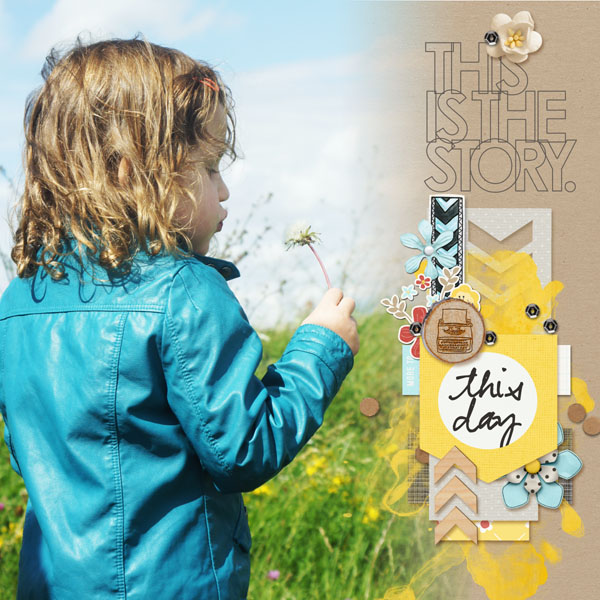 This Day digital scrapbook layout by MlleTerraMoka featuring We Are Storytellers Word Art by Sahlin Studio