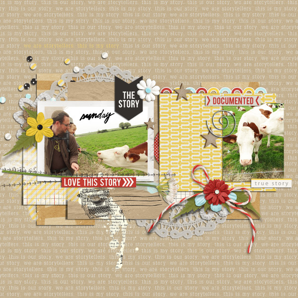 The story digital scrapbook layout by buzinettescrap featuring We Are Storytellers Word Art by Sahlin Studio