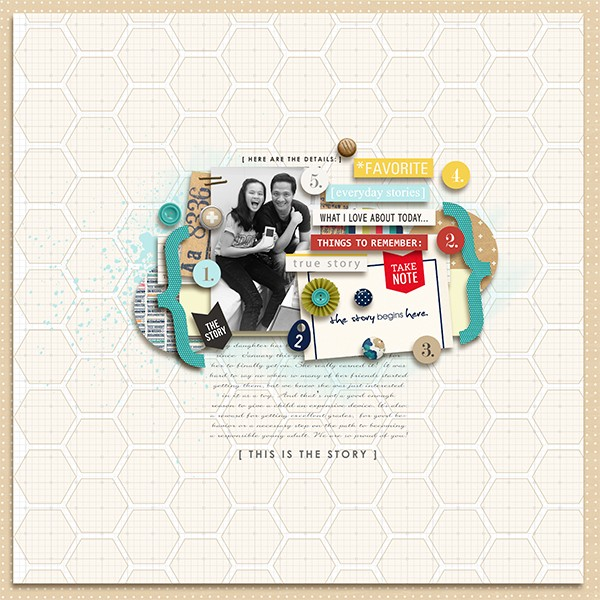 Details digital scrapbook layout by margelz featuring We Are Storytellers Word Art by Sahlin Studio