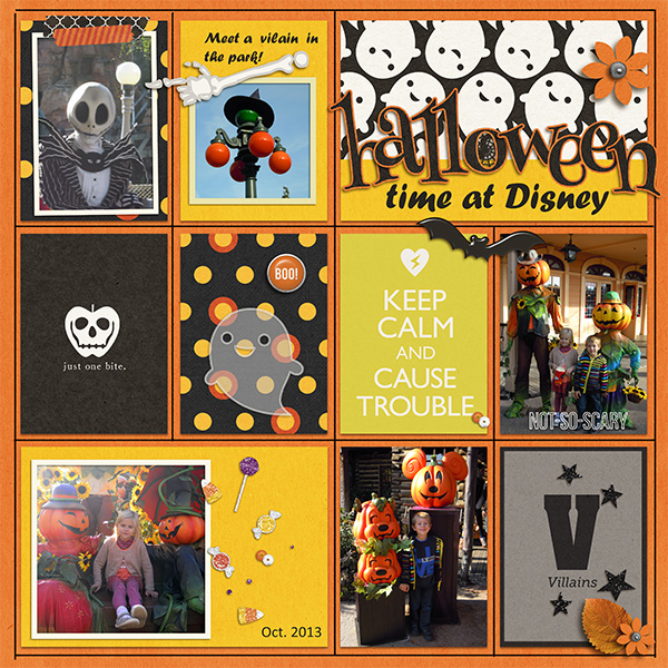 Disney Halloween digital Project Life page by Arumrose featuring Project Mouse: Villains  (cards & autographs) by Britt-ish Designs and Sahlin Studio