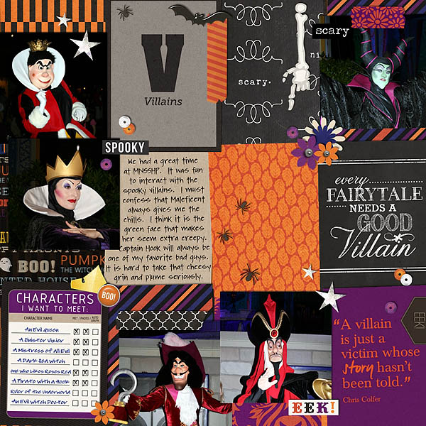 Disney Mickey's Not So Scary Halloween Party digital Project Life page by MelindaS featuring Project Mouse: Villains by Britt-ish Designs and Sahlin Studio