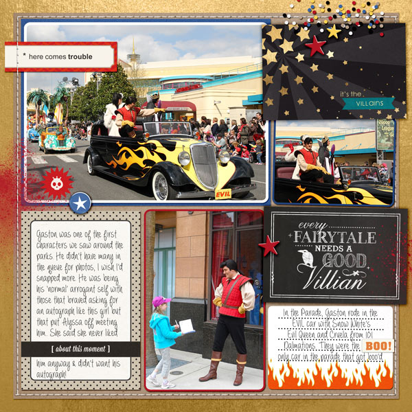 Disney Meet and Greet with Gaston digital Project Life page by bellbird featuring Project Mouse: Villains  (cards & autographs) by Britt-ish Designs and Sahlin Studio