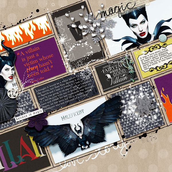 Maleficent digital scrapbooking layout by amberr featuring Project Mouse: Villains  (cards & autographs) by Britt-ish Designs and Sahlin Studio