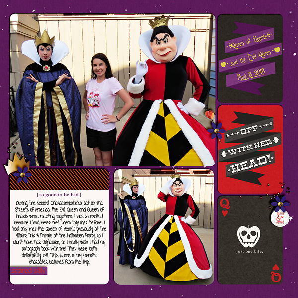 Meet And Greet with Disney's Queen of Hearts and Evil Queen digital scrapbook layout by snowdrop featuring Project Mouse: Villains  (cards & autographs) by Britt-ish Designs and Sahlin Studio