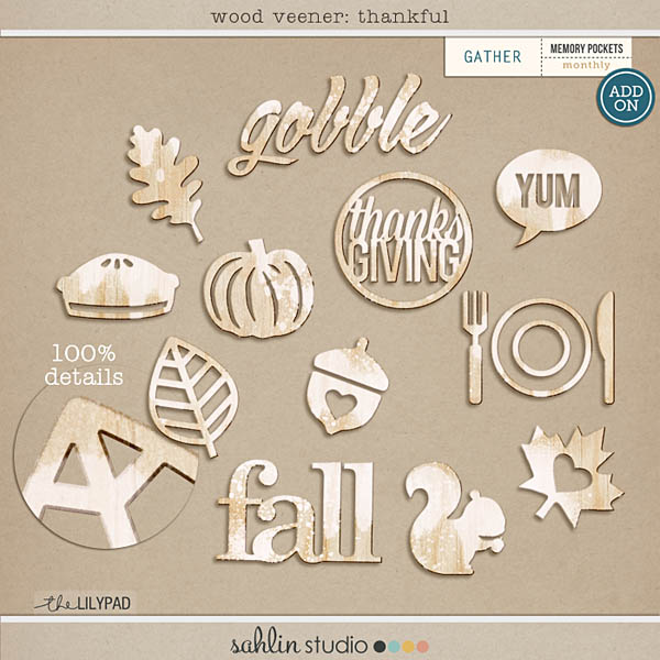 wood veneer: thankful by sahlin studio | Add-On Monthly Pocket Monthly Pocket Srapbooking Monthly Subscription - Gather
