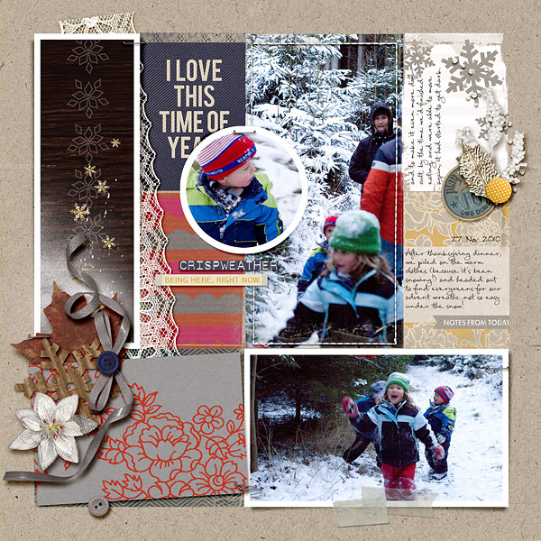 digital scrapbook layout created by amberr featuring autumn frost by sahlin studio