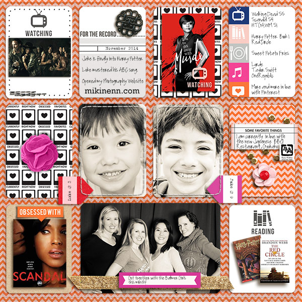Currents Right Now - Watching, Listening, Loving digital scrapbook page by mikinenn using Currently (Journal Cards) by Sahlin Studio.