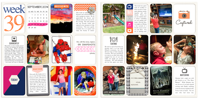 Currents Right Now - Watching, Listening, Loving Project Life page by rlma1 using Currently (Journal Cards) by Sahlin Studio. Perfect for using in your Project Life album!