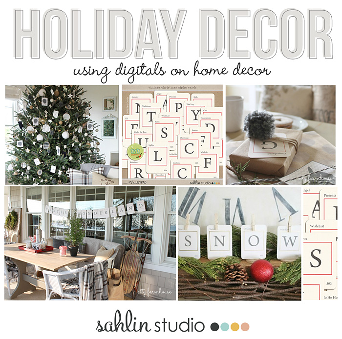 Holiday Home Decor Using Digital Vintage Christmas Alpha Cards - Decor by City Farmhouse