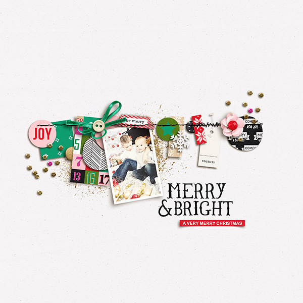 Merry and bright digital scrapbooking layout by sucali featuring making spirits bright: (collection) by sahlin studio