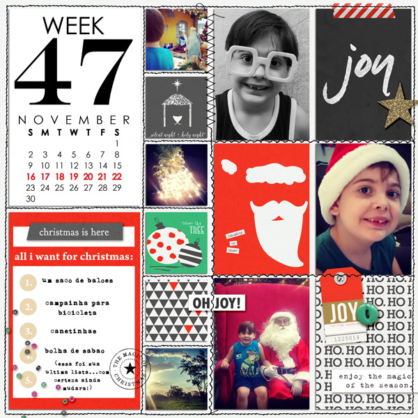 Christmas Holiday Project Life page by AnaPaula using Memory Pocket Monthly Subscription | Joy Perfect for using in your Project Life album!