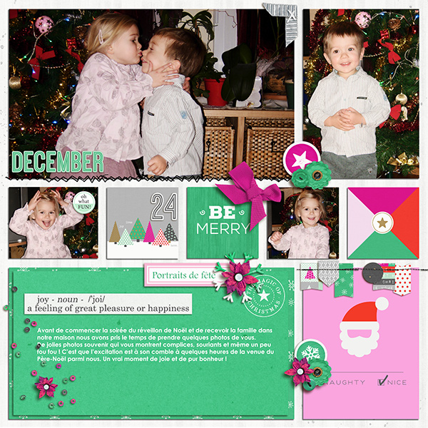 Christmas Holiday digital scrapbook page by Arumrose using Memory Pocket Monthly Subscription | Joy Perfect for using in your Project Life or December Daily album!