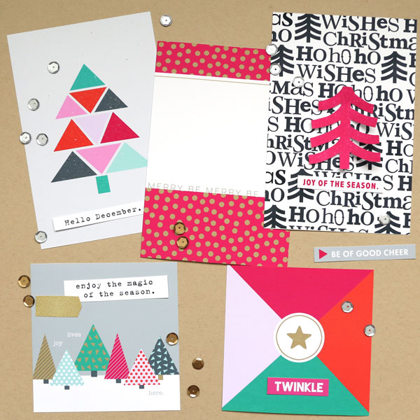 Christmas Holiday cards by Cristina using Memory Pocket Monthly Subscription | Joy Perfect for using in your Project Life or December Daily album!