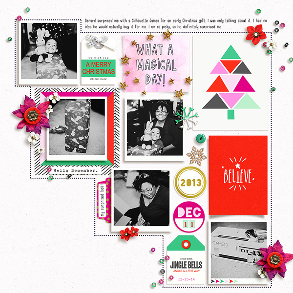 Christmas Holiday digital scrapbook page by Tronesia using Memory Pocket Monthly Subscription | Joy Perfect for using in your Project Life or December Daily album!