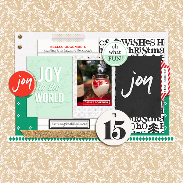 Christmas Holiday digital scrapbook page by mikinenn using Memory Pocket Monthly Subscription | Joy Perfect for using in your Project Life or December Daily album!