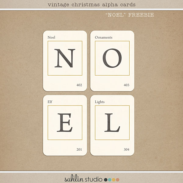 Vintage Christmas Alphabet Cards - NOEL FREEBIE by Sahlin Studio