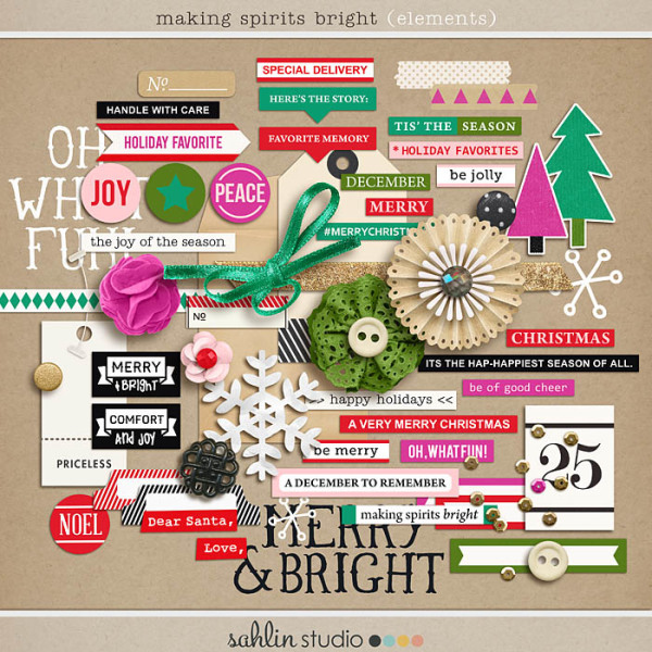making spirits bright: (elements) by sahlin studio Perfect for using in your December Daily or Project Life albums!