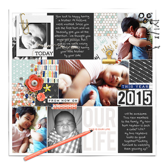 2015 digital scrapbook page by misslovescraps using This New Year '15 by Sahlin Studio & Memory Pocket Monthly - Folio