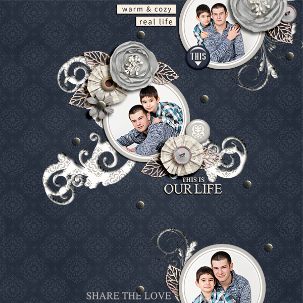 Share The Love digital scrapbook page by Damayanti featuring Chesterfield Kit by Sahlin Studio