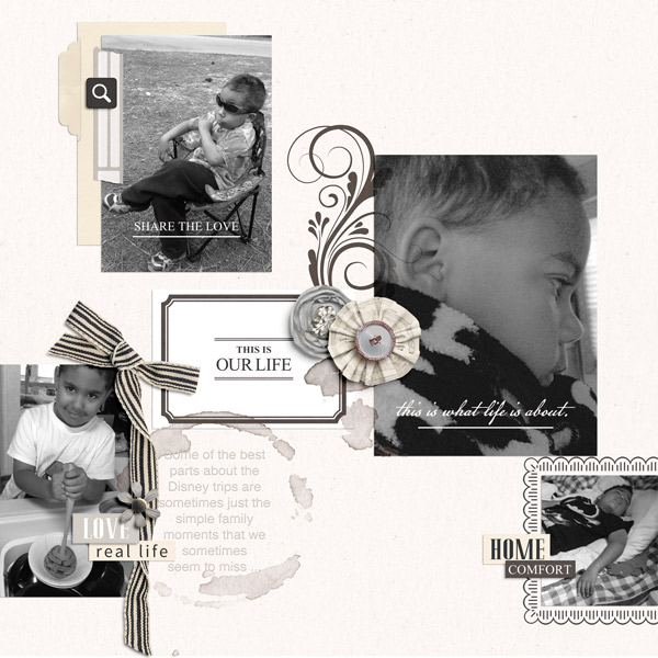 This Is Our Life digital scrapbook page by PuSticks featuring Chesterfield Kit by Sahlin Studio