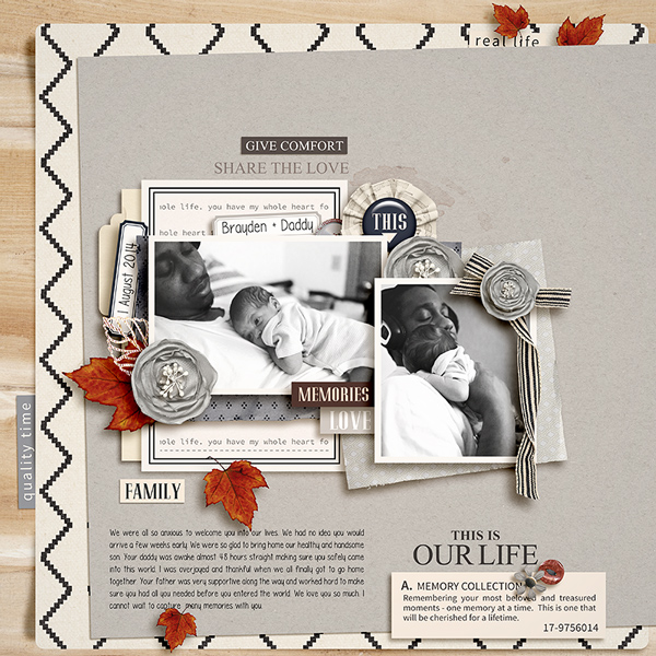Brayden & Daddy digital scrapbook page by Tronesia featuring Chesterfield Kit by Sahlin Studio