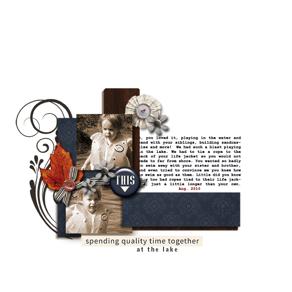 Spending Quality Time at the lake digital scrapbook page by dotcomkari featuring Chesterfield Kit by Sahlin Studio