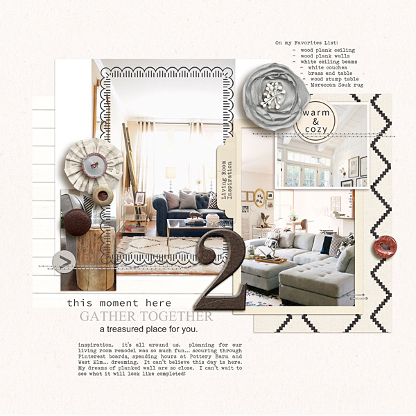 Living Room Inspiration digital scrapbooking page by kristasahlin featuring Chesterfield Kit by Sahlin Studio