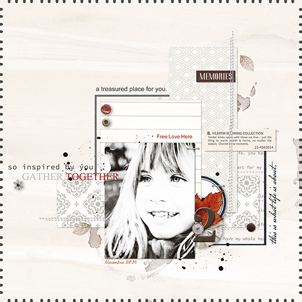 Memories digital scrapbook page by louso featuring Chesterfield Kit by Sahlin Studio