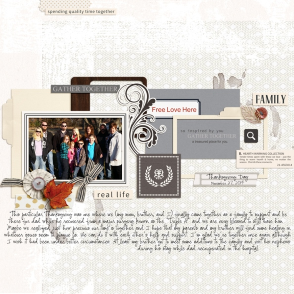 Thanksgiving Day digital scrapbooking page by melrio featuring Chesterfield Kit by Sahlin Studio