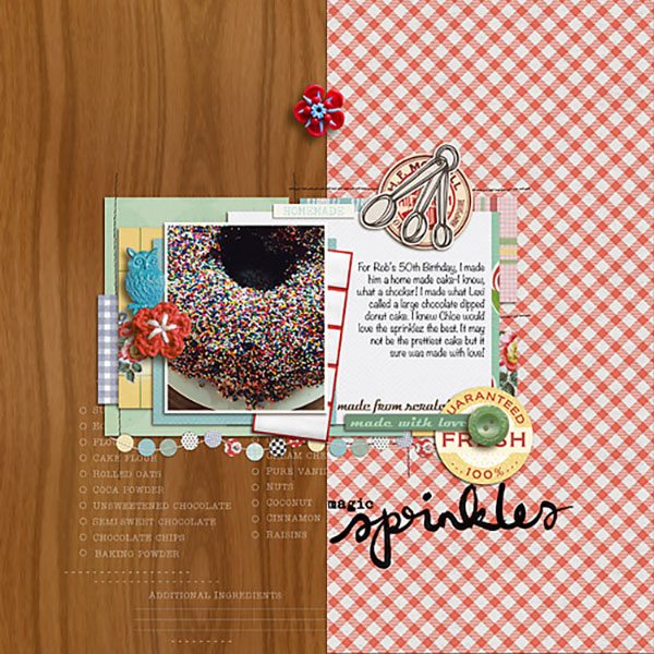 digital scrapbooking layout created by Heather Prins featuring Kitschy Kitchen by Sahlin Studio and Jennifer Barrett